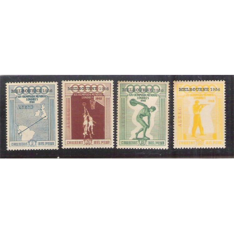Peru, Olimpíadas, esporte, sobretaxa Melbourne 1956, série nova.