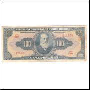 C029 - 100 Cruzeiros, 1943, autografada, série 230, mbc. Dom Pedro II.