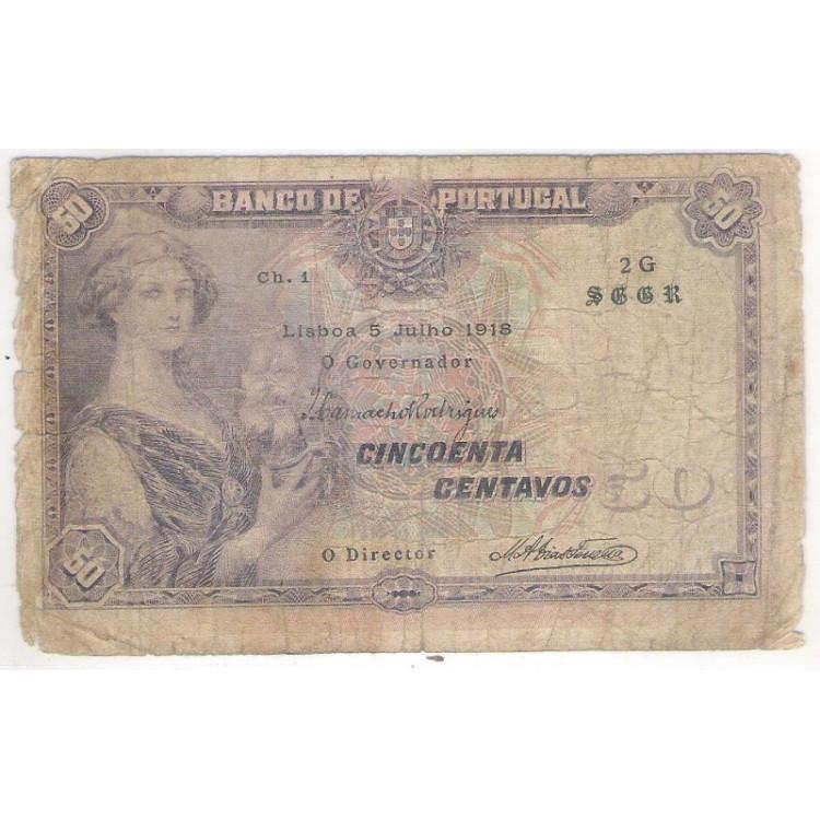 Portugal - (P.112b) 50 Centavos, 1918.