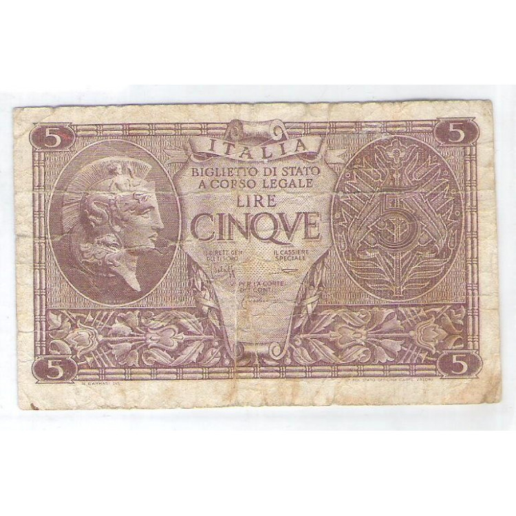 Itália - (P.31c) 5 Lire, 1944.