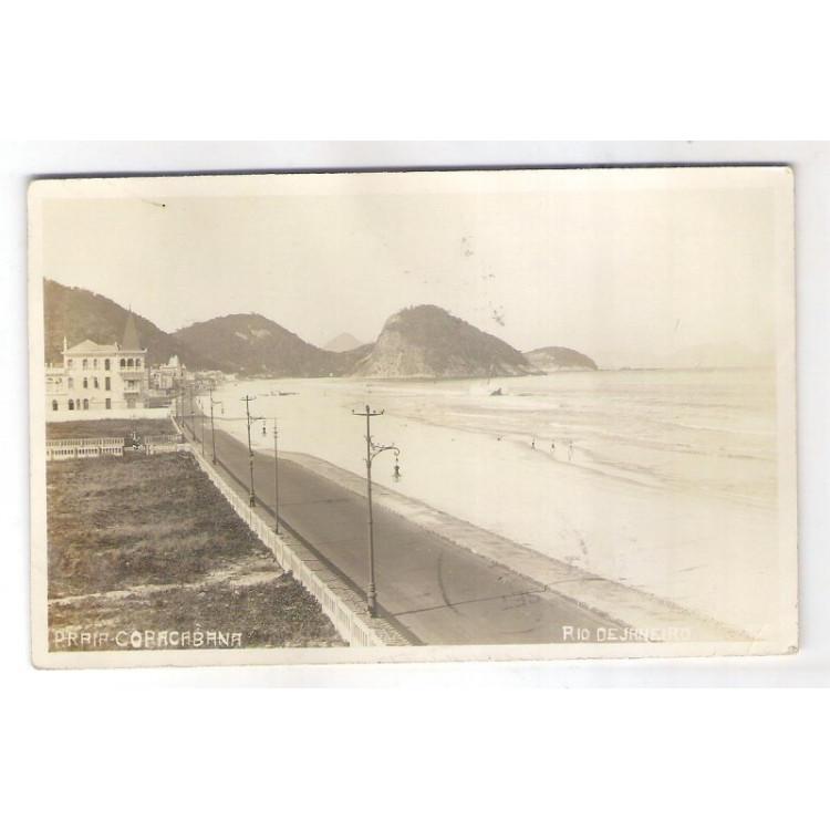 RJ120 - Postal antigo  Praia de Copacabana, Rio de Janeiro.