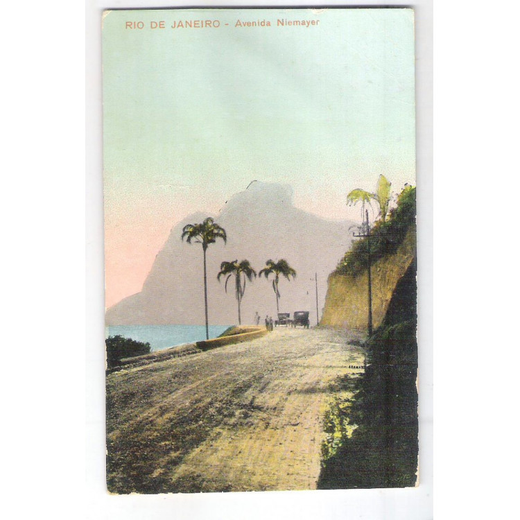RJ117 - Postal antigo 1926, Avenida Niemayer, Rio de Janeiro.