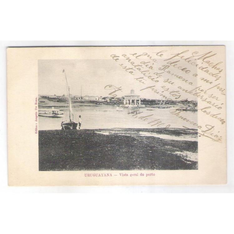 UU02 - Postal antigo, 1908, Uruguaiana, Vista geral do porto. Editor: Angelo de Rosa.
