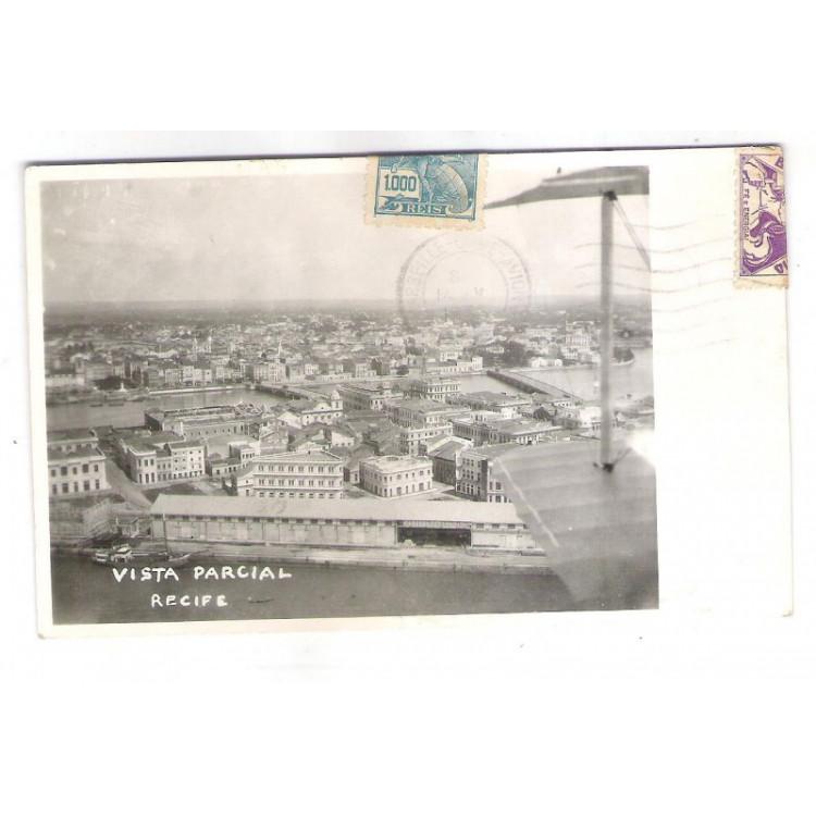 RE29 - Postal circulado em 1936, Via Air France, Vista parcial, Recife Pernambuco.