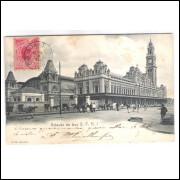 SP50 - Postal circulado em 1909, de Jahú para Porto Alegre. Estação da Luz, São Paulo.