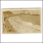 RJ115 - Postal antigo, Praia de Copacabana. Foto Perrotta-Rio