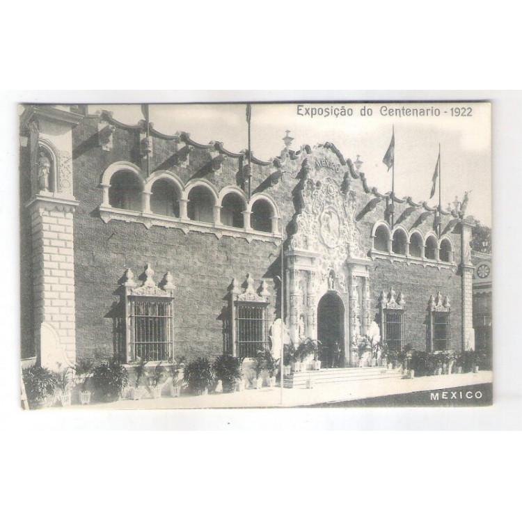 RJ122 - Postal antigo Exposição do Centenário - 1922, México, Rio de Janeiro.