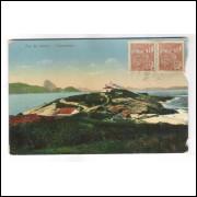 RJ112 - Postal antigo, Copacabana, Igreja, praia. Corte no canto superior e inferior direito