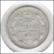Rússia, 15 Kopeks 1913, Nicolau II, prata, soberba.