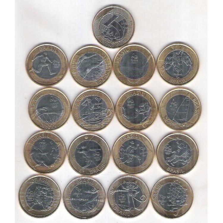 2014-2016 Coleção das 16 moedas de 1 Real das Olimpíadas.