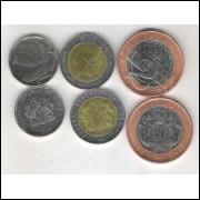 Nigéria, 50 Kobo, 1 e 2 Naira, 2006, Bimetálica, S/fc.