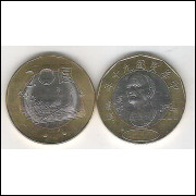 China (Taiwan), 20 Yuan, 2001,bimetálica, fc. Barcos.
