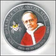 Palau, 1 Dollar 2009, Papa Pio XI (1922-1939), 80 Anos da Cidade do Vaticano, fc.