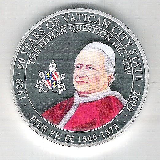 Palau, 1 Dollar 2009, Papa Pio IX (1846-1878), 80 Anos da Cidade do Vaticano, fc.