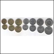 Polônia, 1; 2; 5; 10; 20; 50 Groszy E 1 Zloty 2012-2013 FC.