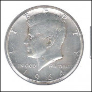 Estados Unidos, Half Dollar, 1964, prata, Kennedy, mbc.