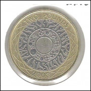 Inglaterra, 2 Pounds, 2003, bimetálica, Rainha Elizabeth II, mbc.