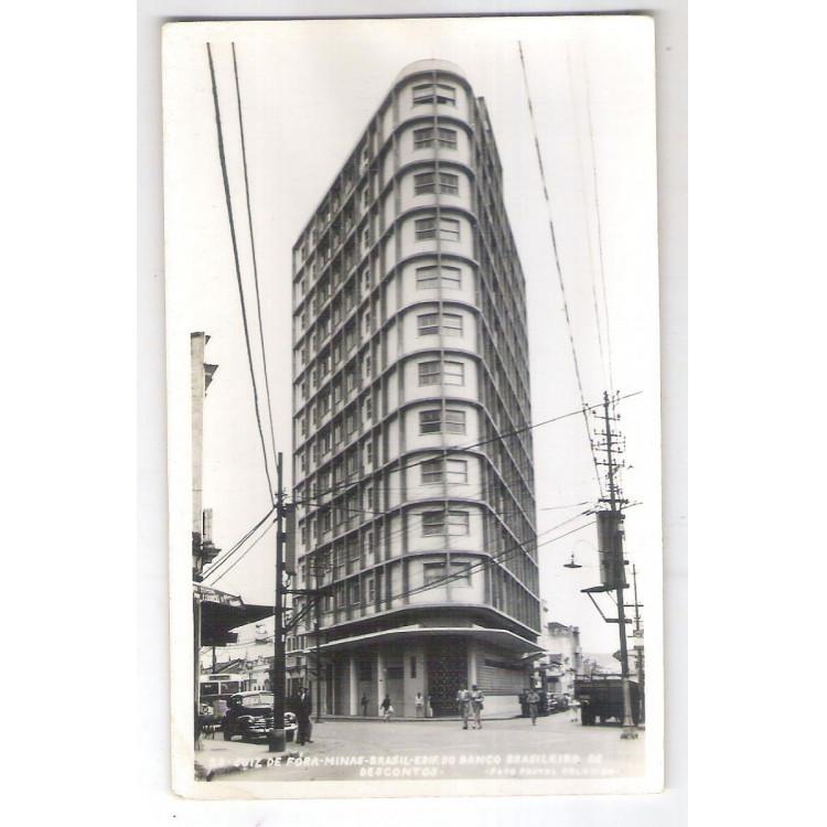 JF1 Foto Postal Colombo, Juiz de Fora, Edifício Banco Bradesco.