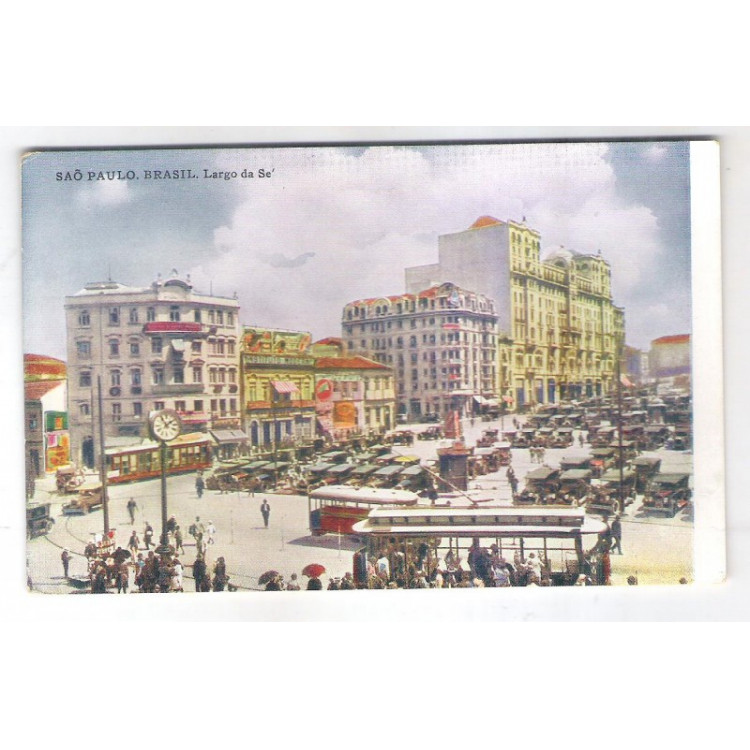 SP55 Cartão Postal Antigo, São Paulo, Largo da Sé, Bondes, Carros.