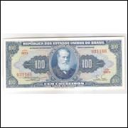 C030 - 100 Cruzeiros, 1955, Valor Recebido, Claudionor S. Lemos - Eugênio Gudin, fe. D. Pedro II.