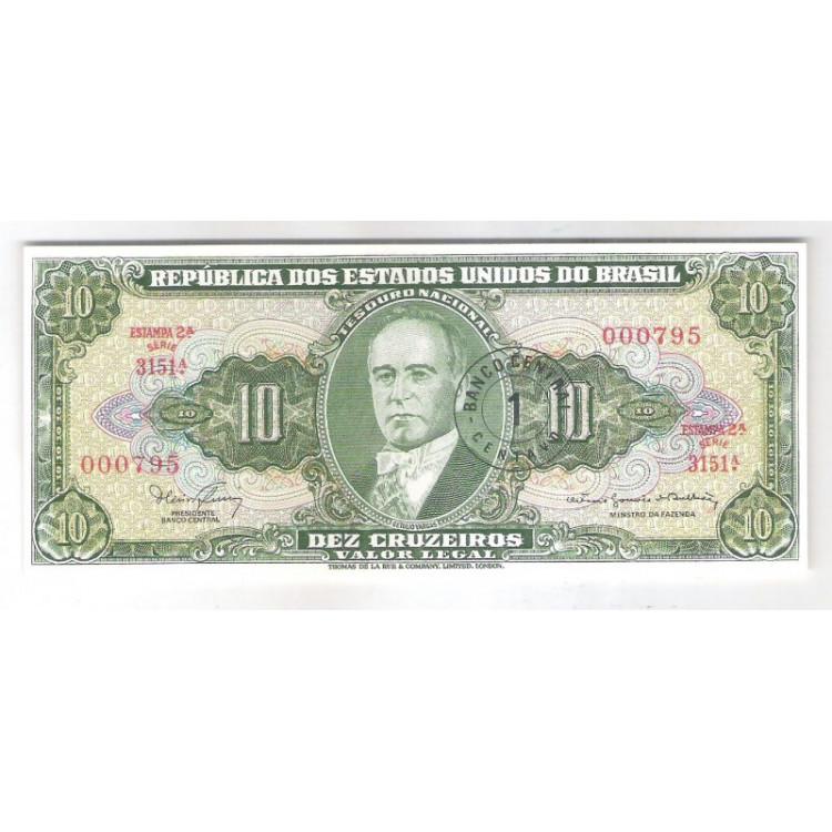 C113 - 10 Cruzeiros com carimbo 1 Centavo, Série 3151, ÚLTIMA. FE.