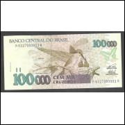 C229 - 100.000 Cruzeiros, 1993, Série 6227 - PRIMEIRA, fe. Fauna, Beija-flor.