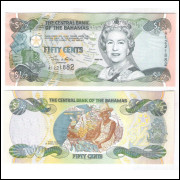 Bahamas - (P.68) 50 Cents (1/2 dollar) 2001 fe. Rainha Elizabeth II.