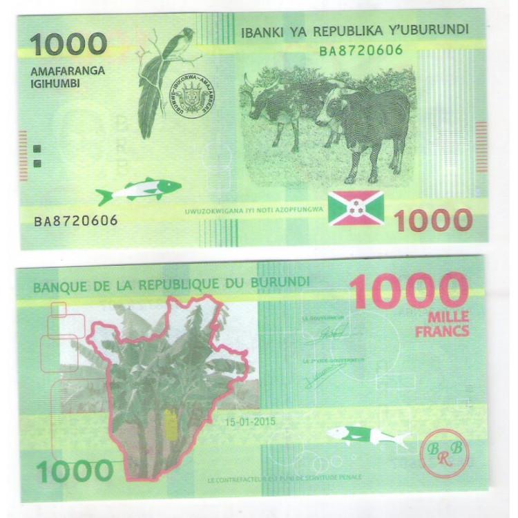 Burundi - (nova) 1000 Francs, 2015, fe. Pecuária, fauna.
