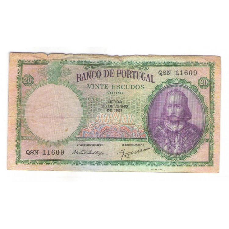 Portugal (P.153a) - 20 Escudos, 1951, bc. D.Antonio Luiz de Menezes.