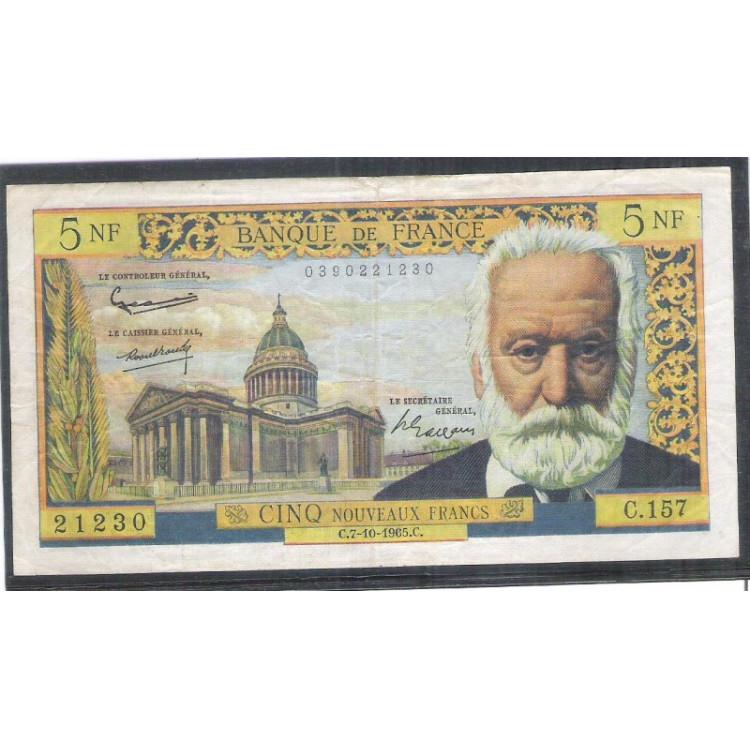 França (P.141a) - 5 Nouveaux Francs, 1965, mbc.