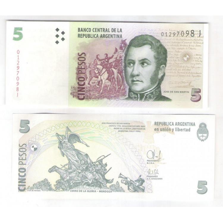 Argentina (P.353) - 5 Pesos, 2015, fc. Personalidade: Jose de San Martin.