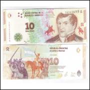 Argentina (nova) - 10 Pesos, 2016, fc. Personalidade: Manuel Belgrano.