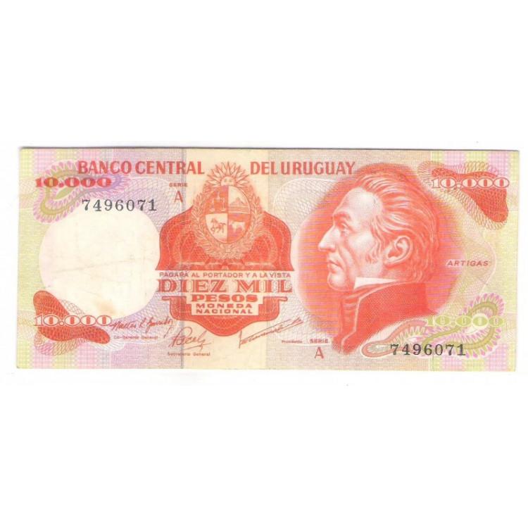 Uruguai (P.53a) - 10.000 Pesos 1974, soberba. Personalidade: Artigas.