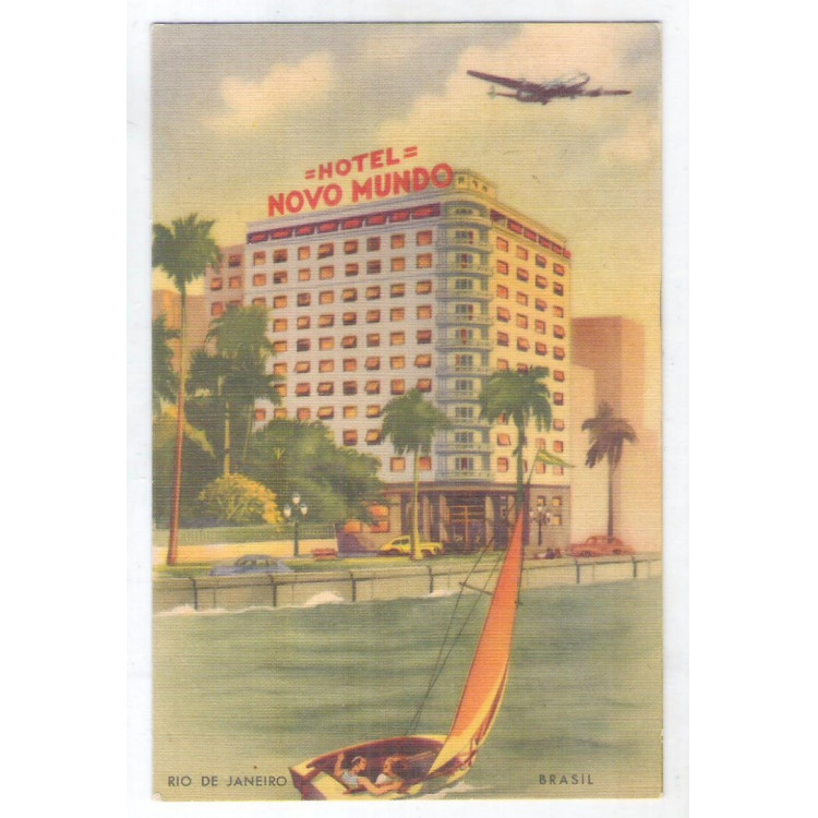 RJ129- Postal antigo, Rio de Janeiro, Hotel Novo Mundo, avião.