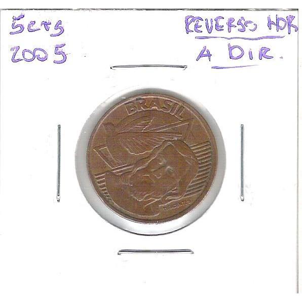 2005 - 5 Centavos, Reverso Horizontal à direita.