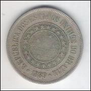 1889 - Brasil, 200 Réis, cuproníquel, mbc+.