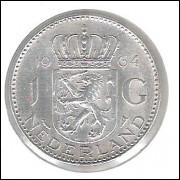 Holanda, 1 Gulden, 1964, prata, soberba. Rainha Juliana.