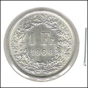Suíça, 1 Franc, 1964, prata, FC.