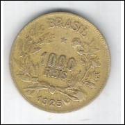 1925 - Brasil, 1000 Réis, bronze-alumínio, mbc.
