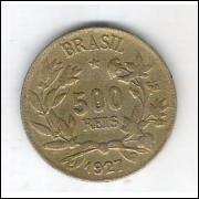 1927 - 500 Réis, bronze-alumínio, mbc.