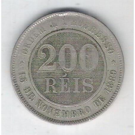 1889 - Brasil, 200 Réis, cuproníquel, bc.