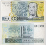 C176 - 100.000 Cruzeiros, 1986, Dilson Funaro e Fernão Bracher, s/fe. Juscelino Kubitschek