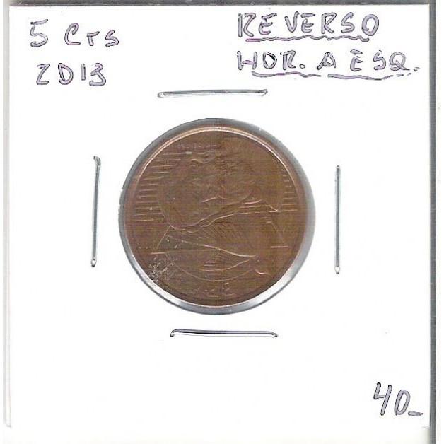 2013 - 5 Centavos, Reverso Horizontal à esquerda.