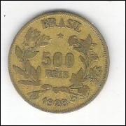 1928 - 500 Réis, bronze-alumínio, mbc+