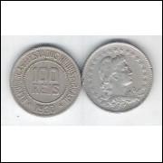 1930 - Brasil, 100 Réis, cuproníquel, mbc..