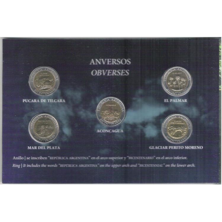 Argentina, 2 Pesos 2010, bimetálica, Série 5 moedas Comemorativas Bicentenário Revolução de Maio
