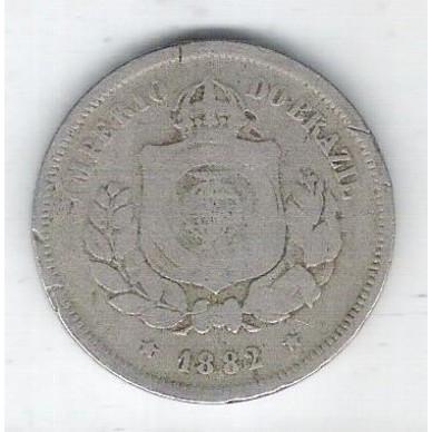 1882 - Brasil-Império, Dom Pedro II, 100 Réis, cupro-níquel, bc.