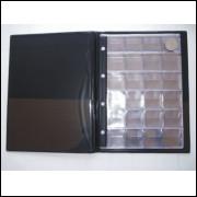 Álbum para 240 moedas, capa plástica com 10 folhas pvc.