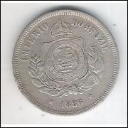 1886 - Brasil-Império, Dom Pedro II, 100 Réis, cuproníquel, bc/mbc.