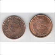 2004 -  1 Centavo, mbc, aço revestido de cobre.